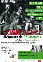 "CONFERENCE ""Memoires de résistances"" / JEUDI 12 AVRIL 2012 / 18h30"